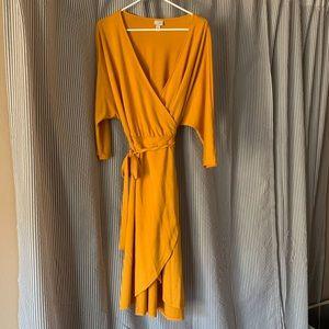 Dresses & Skirts - Mustard yellow wrap dress, midi length